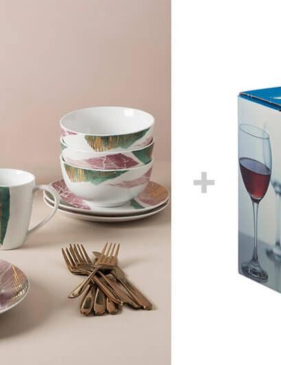 Portmeirion Torn 16 Piece Porcelain Dinner Set + Ravenhead MODE Red Wine Set of 4 Glasses, Bundle of 2