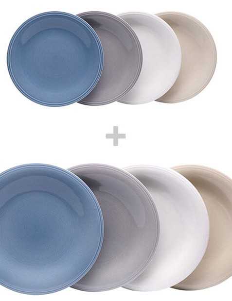 Villeroy & Boch Vivo Color Loop Dinner Plate Set + Salad Plate Set