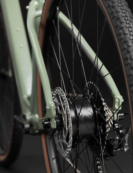 The eBikemotions motor on the Cannondale Topstone Neo SL gravel eBike is built into the rear hub