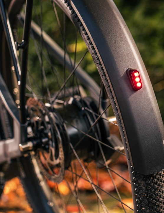 Canyon Precede ON CF 9 eBike has a built-in light on the rear mudguard
