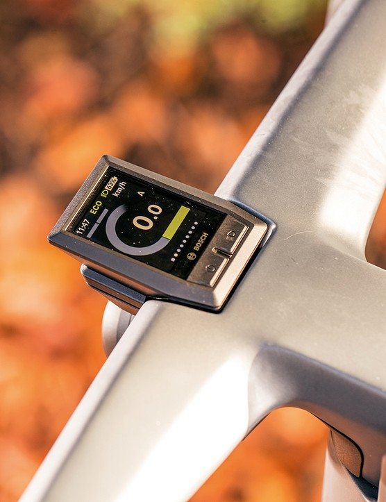 The Kiox display is integrated into the bar on the Canyon Precede ON CF 9 eBike