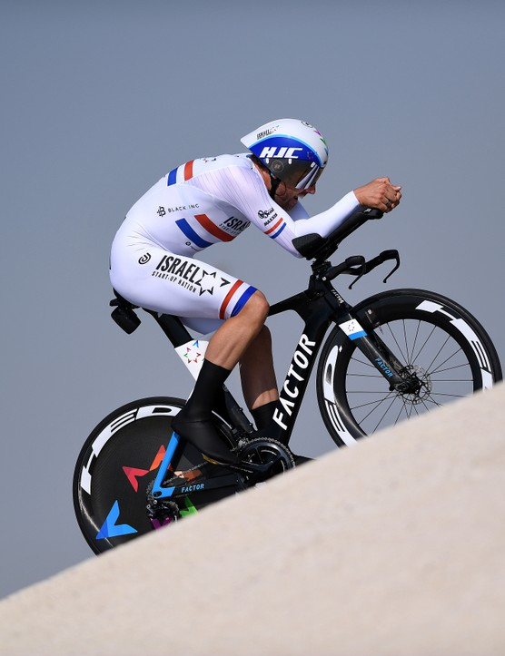 Alex Dowsett racing the time trial at the 2021 UAE Tour