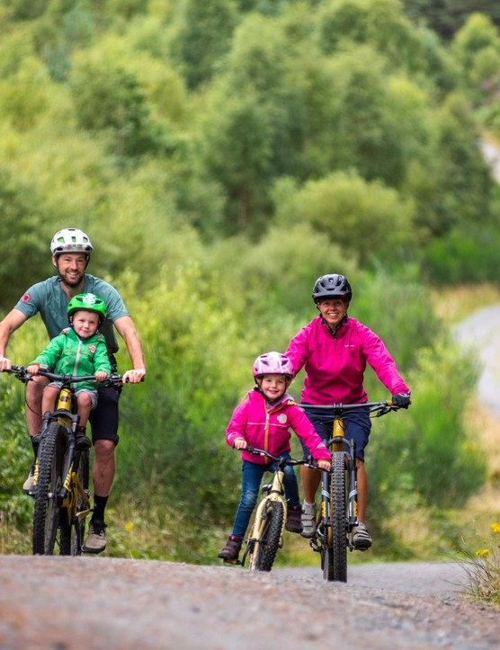 Family gravel riding at Gravelfoyle, Aberfoyle, Scotland