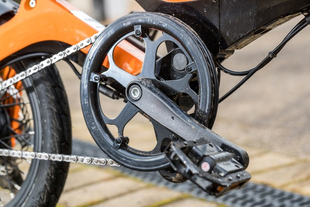 The MiRider One folding bike has a chainring guide