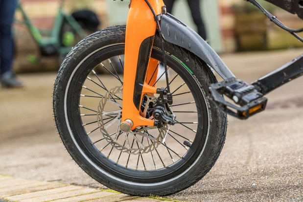 The 2021 version of the MiRider One folding bike comes with spoked wheels