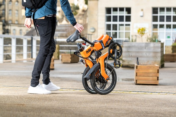 The MiRider One folding bike in its folded position