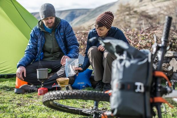 Camp site on a bikepacking trip