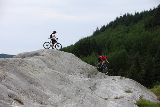 A couple of mountain bikers on the black craigs single track trail, a black graded route at Kirroughtree (forest), near Newton Stewart, one of the 7stanes mountain bike centres in southern Scotland