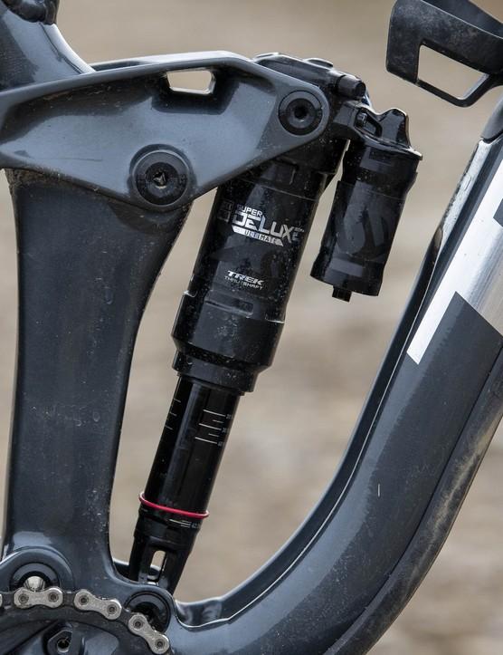 RockShox Super Deluxe Thru Shaft rear shock on the Trek Slash 8 full suspension mountain bike