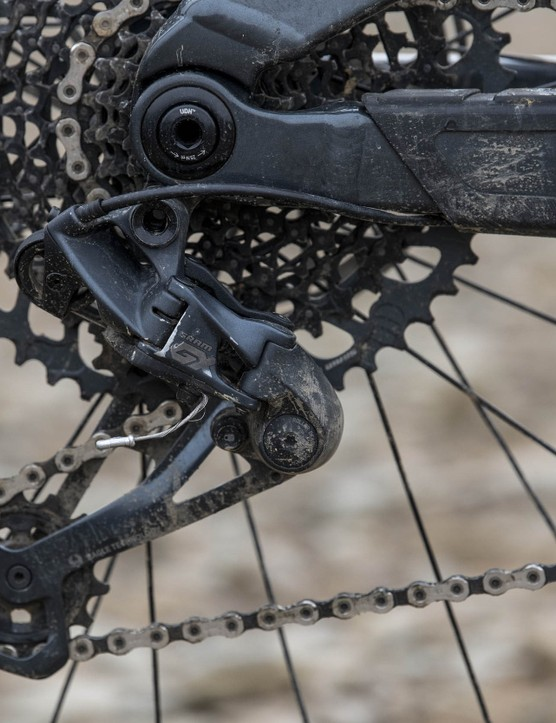 The Trek Slash 8 full suspension mountain bike is equipped with GX Eagle 12-speed transmission