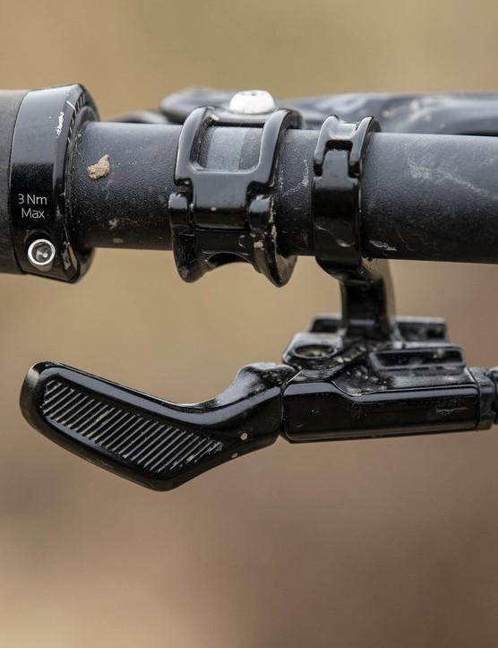 Remote for the TranzX, 150mm dropper post on the Trek Slash 8 full suspension mountain bike