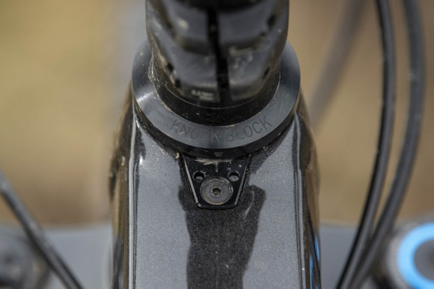 Knock Block 2.0 limits the steering angle on the Trek Slash 8 full suspension mountain bike