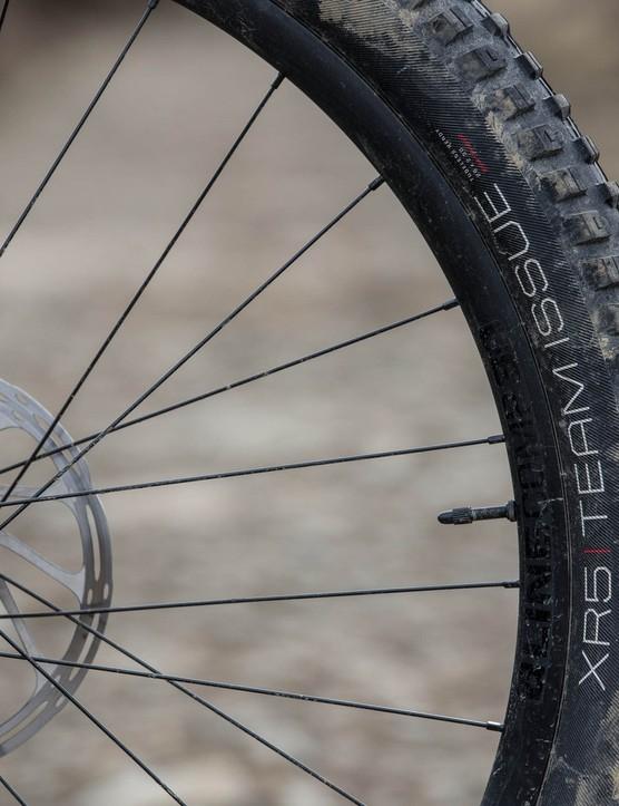 Bontrager XR5 Team Issue tyre on the front of the Trek Slash 8 full suspension mountain bike