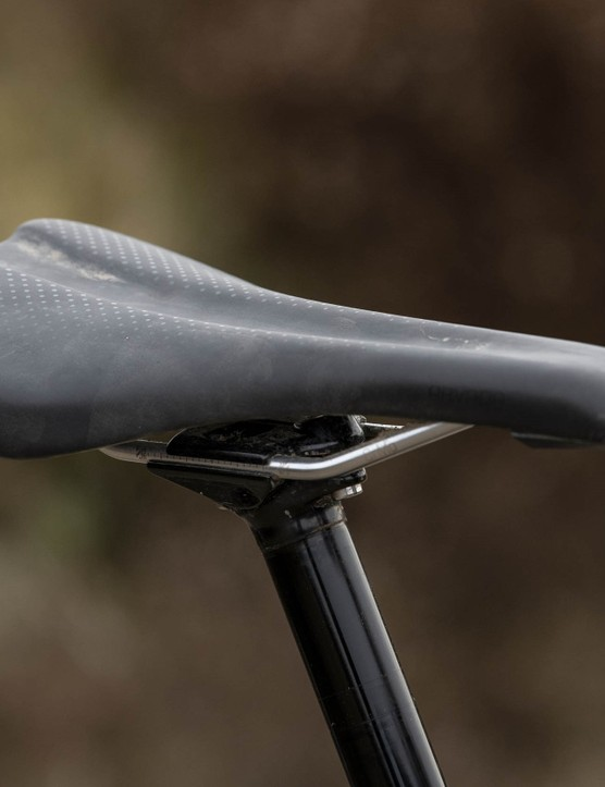 The Trek Slash 8 full sus mountain bike is equipped with a Bontrager Arvada saddle