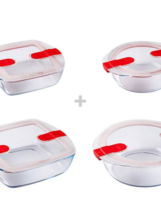 Pyrex Cook & Heat Round + Square Glass Food Containers with Microwave Safe Vented Lids, Bundle of 4