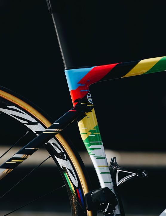 Specialized S-Works Tarmac SL7 with a rainbow stripe paint job