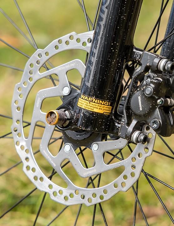 Cannondale Trail SE4 hardtail mountain bike has Shimano brakes