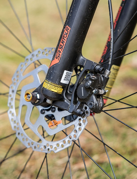 Carrera Fury hardtail mountain bike is equipped with Shimano MT200 brakes