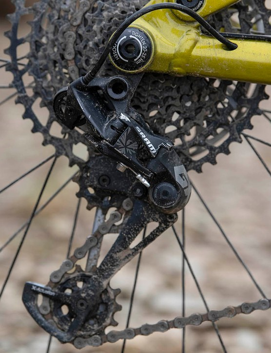 The Kona Process 153 DL 29 full suspension mountain bike is equipped with a GX Eagle rear mech