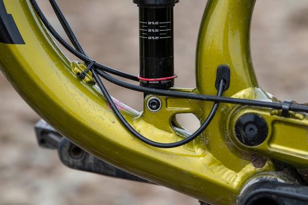 The Kona Process 153 DL 29 full suspension mountain bike has external cabling
