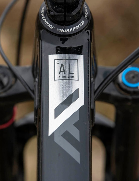 Badge on the toptube of the Nukeproof Mega 290 Alloy Pro full suspension mountain bike