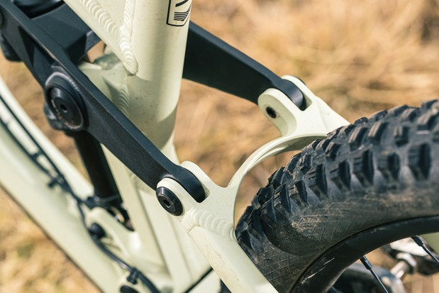 The back end of the Privateer 141 SLX XT full suspension mountain bike is fairly chunky