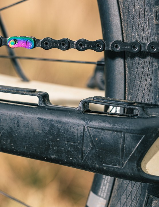 The Propain Hugene Custom full suspension mountain bike has a chainstay protector