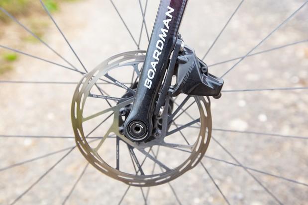 SRAM Rival eTap AXS disc brake caliper and rotor