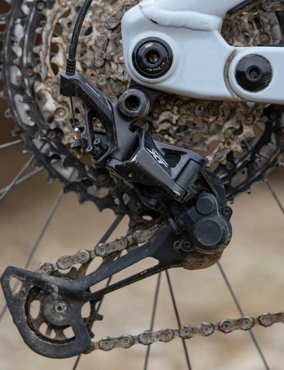 The Vitus Sommet CRX 29 full suspension mountain bike is equipped with a Shimano XT drivetrain