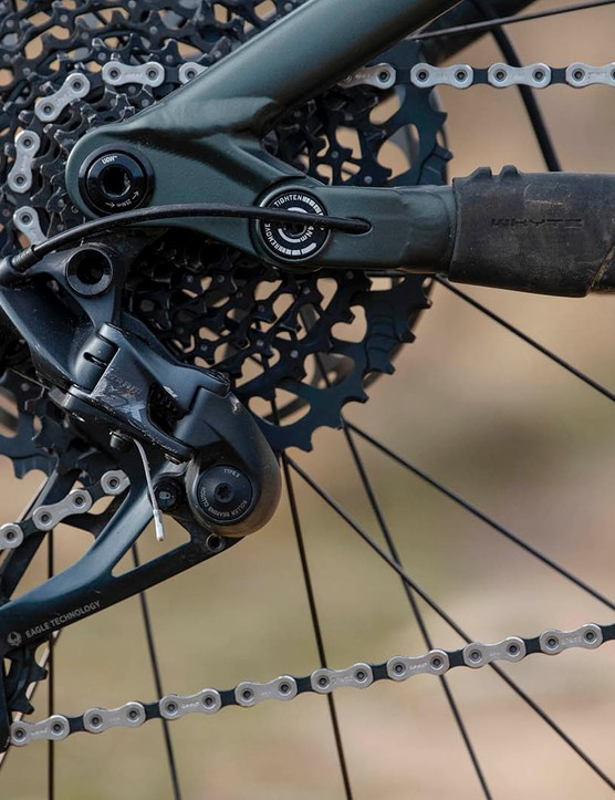 A full SRAM GX Eagle 12-speed transmission on the Whyte G-180 RS 29 V1