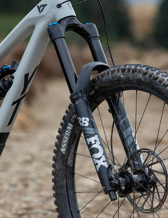 The YT Capra Shred 27.5 full suspension mountain bike is equipped with a Fox 38 Performance fork