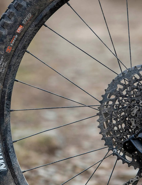 The YT Capra Shred 27.5 full suspension mountain bike is equipped with Maxxis DHR II tyres on the rear