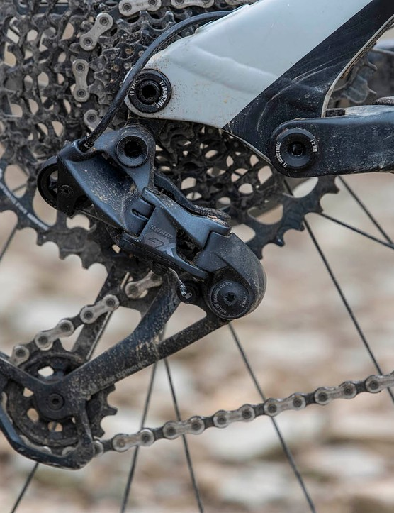 The YT Capra Shred 27.5 full suspension mountain bike is equipped with SRAM's impressive GX Eagle transmission