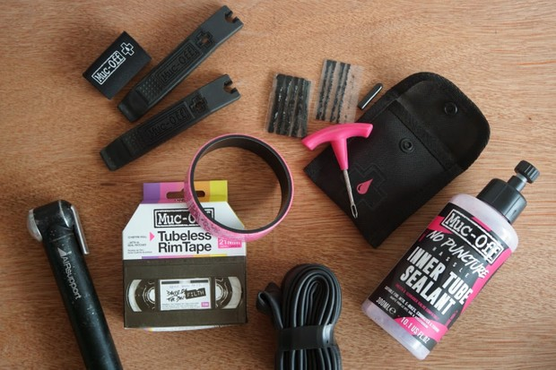 Tools needed to repair a tubeless tyre puncture.