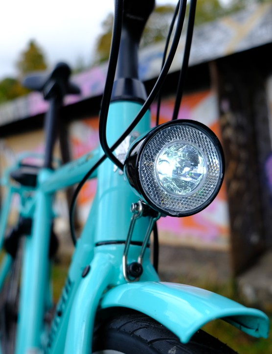 Integrated front light on the Bianchi E-Spillo Luxury eBike
