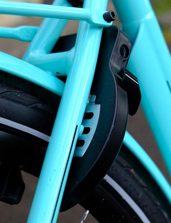 A rear-wheel disabling lock on the Bianchi E-Spillo Luxury eBike