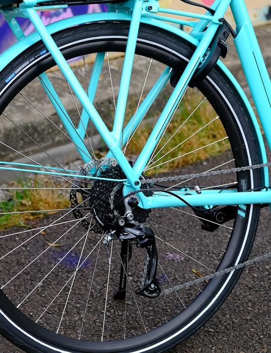 Rear wheel of the Bianchi E-Spillo Luxury eBike