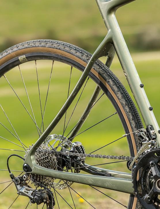 Rear end of the Boardman ADV 9.0 gravel bike
