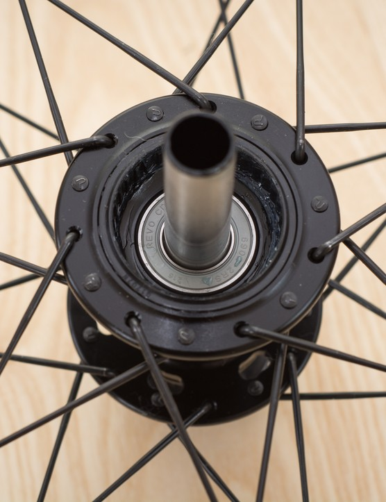 Rear hub with freehub removed, showing bearing