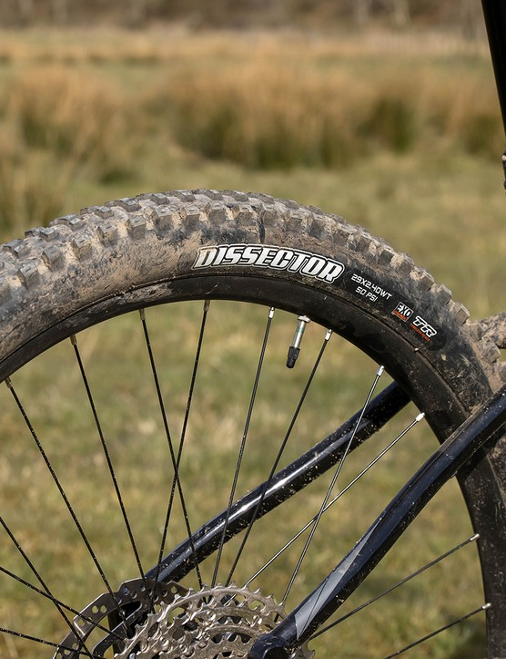 Maxxis Dissector Dual EXO TR tyres on the Merida Big.Trail 500 hardtail mountain bike