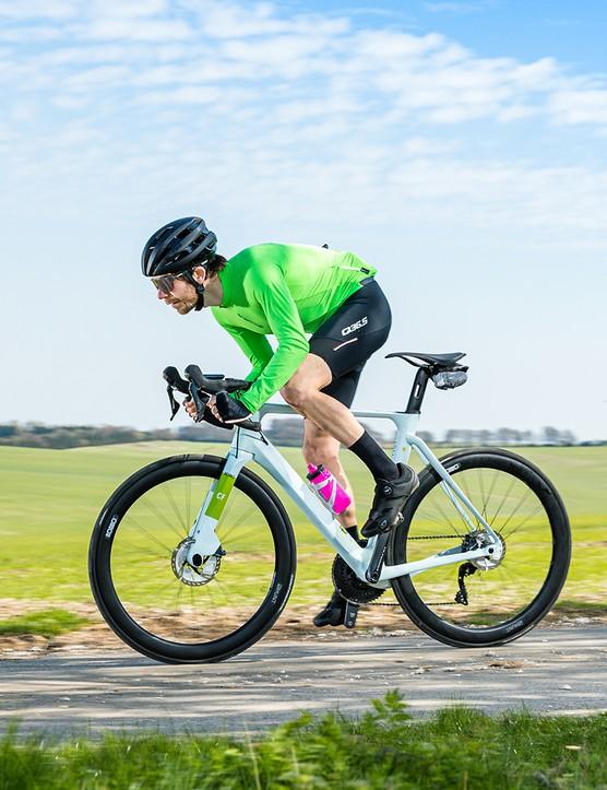 Male cyclist riding the Rondo HVRT CF1 Ultegra
