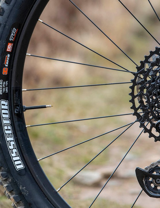 Maxxis Dissector tyre on the rear of the Scott Ransom 920 full suspension mountain bike