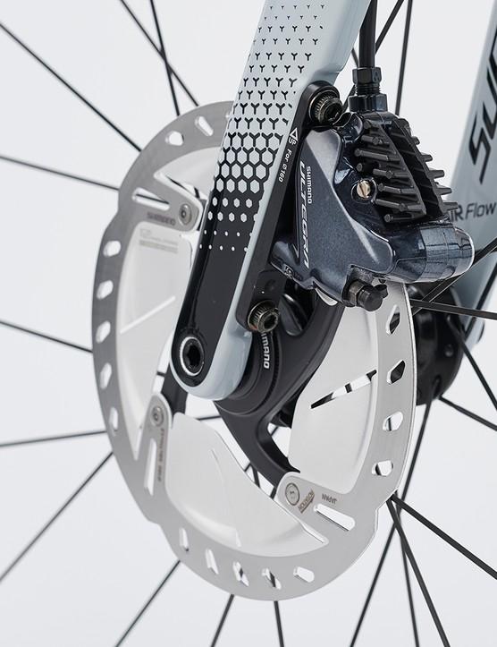 Shimano Ultegra hydraulic disc brakes on the Sensa Guilia GF Ultegra Di2 road bike