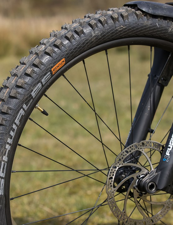 Schwalbe Magic Mary SnakeSkin tyre on the front of the Vitus Sentier 27 hardtail mountain bike
