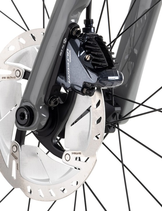 Fork and front rotor of the Vitus ZX-1 EVO Ultegra Di2 road bike