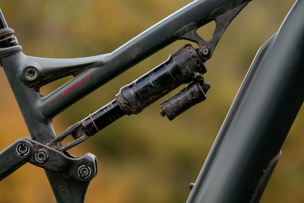 RockShox Super Deluxe Select rear shock on the full suspension electric mountain bike