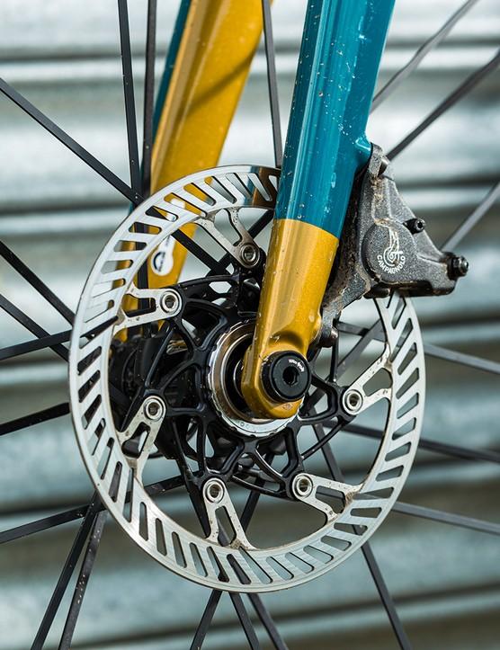 Campagnolo Chorus brakes on the Condor Super Acciaio Disc road bike