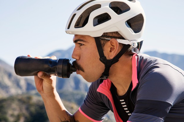 Cyclist drinking from a bottle