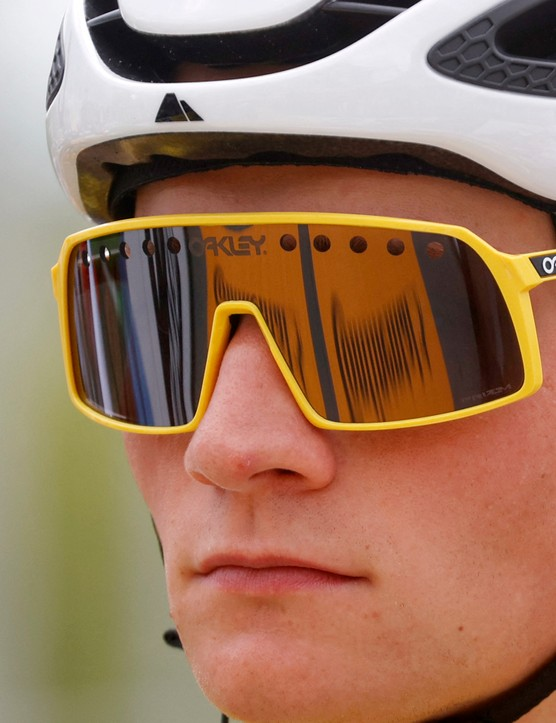 Custom yellow Oakley Sutro sunglasses worn by Mathieu van der Poel 2021 Tour de France