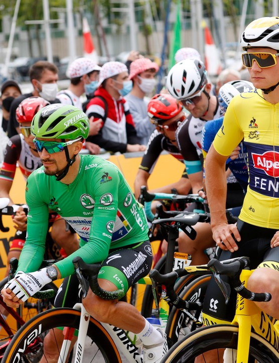 PONTIVY, FRANCE - JUNE 28: Julian Alaphilippe of France and Team Deceuninck - Quick-Step Green Points Jersey & Mathieu Van Der Poel of The Netherlands and Team Alpecin-Fenix yellow leader jersey at start during the 108th Tour de France 2021, Stage 3 a 182,9km stage from Lorient to Pontivy / @LeTour / #TDF2021 / on June 28, 2021 in Pontivy, France. (Photo by Chris Graythen/Getty Images)